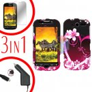For HTC T-Mobile Mytouch 4g Car Charger +Hard Case Love +Screen 3-in1