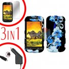 For HTC T-Mobile Mytouch 4g Car Charger +Hard Case Flower +Screen 3-in1