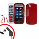 For Pantech Laser P9050 Car Charger +Hard Case Rubberized Red 2-in-1