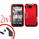 For Motorola Defy MB525 Car Charger + Cover Hard Case Rubberized Red 2-in-1