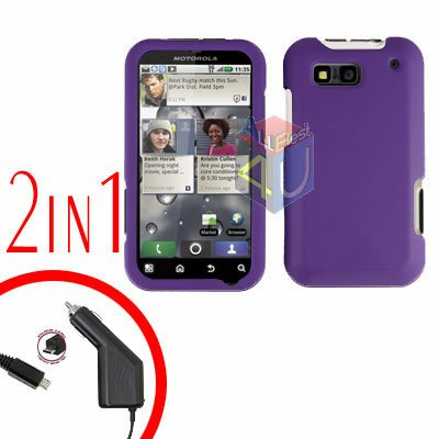 For Motorola Defy MB525 Car Charger + Cover Hard Case Rubberized Purple 2-in-1