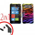 FOR HTC HD7 HD 7 Car Charger + Cover Hard Case C-Zebra 2-in-1