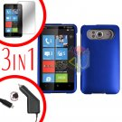 FOR HTC HD7 HD 7 Car Charger + Hard Case Blue + Screen 3-in-1