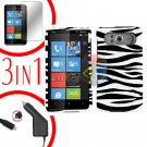 FOR HTC HD7 HD 7 Car Charger + Hard Case Zebra + Screen 3-in-1