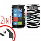 FOR HTC HD7 HD 7 Car Charger + Cover Hard Case Zebra 2-in-1