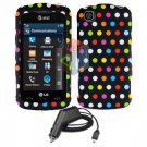 FOR LG Shine Touch KM555 Car Charger + Cover Hard Case R-Dot 2-in-1