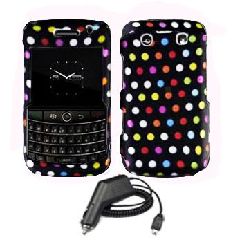 For Blackberry Bold 9780 Car Charger + Cover Hard Case R-Dot 2-in-1