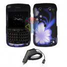 For Blackberry Bold 9780 Car Charger + Cover Hard Case B-Flower 2-in-1