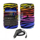 For Blackberry Bold 9780 Car Charger + Cover Hard Case C-Zebra 2-in-1