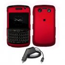 For Blackberry Bold 9780 Car Charger + Cover Hard Case Red 2-in-1