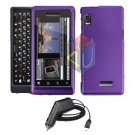 For Motorola Milestone 2 a953 Car Charger + Cover Hard Case Purple 2-in-1