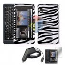 For Motorola Droid 2 a955 Screen + Car Charger + Hard Case Zebra 3-in-1