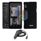 For Motorola Droid 2 a955 Car Charger + Cover Hard Case Black 2-in-1