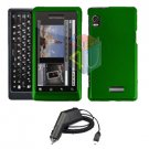 For Motorola Droid 2 a955 Car Charger + Cover Hard Case Green 2-in-1