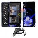 For Motorola Droid 2 a955 Car Charger + Cover Hard Case B-Flower 2-in-1