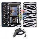 For Motorola Droid 2 a955 Car Charger + Cover Hard Case Zebra 2-in-1