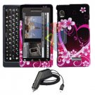 For Motorola Droid 2 a955 Car Charger + Cover Hard Case Love 2-in-1