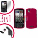 For Motorola Droid Pro A957 Screen +Car Charger +Hard Case Rubberized Rose Pink 3-in-1