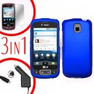 For LG Optimus-T / P509 Screen +Car Charger +Hard Case Blue 3-in-1