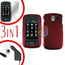 For Pantech Crux / CDM8999 Screen +Car Charger +Hard Case Rubberized Red 3-in-1
