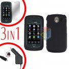 For Pantech Crux / CDM8999 Screen +Car Charger +Hard Case Rubberized Black 3-in-1