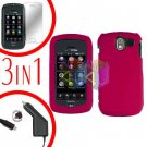 For Pantech Crux / CDM8999 Screen +Car Charger +Hard Case Rubberized Rose Pink 3-in-1