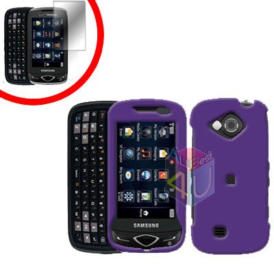 For Samsung Reality U820 Cover Hard Case Rubberized Purple +Screen 2-in-1