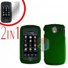 For Pantech Crux / CDM8999 Cover Hard Case Rubberized Green +Screen 2-in-1