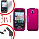 For LG Optimus-T / P509 Screen +Car Charger +Hard Case Rose Pink 3-in-1