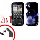 For Motorola Droid Pro A957 Car Charger +Hard Case B-Flower 2-in-1