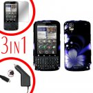 For Motorola Droid Pro A957 Screen +Car Charger +Hard Case B-Flower 3-in-1