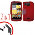 For Motorola Citrus WX445 Car Charger + Cover Hard Case Rubberized Red 2-in-1