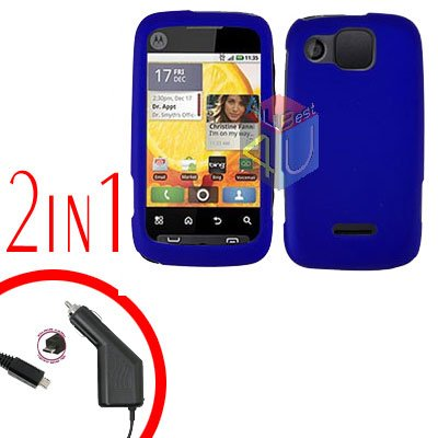 For Motorola Citrus WX445 Car Charger + Cover Hard Case Rubberized Blue 2-in-1