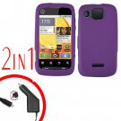For Motorola Citrus WX445 Car Charger + Cover Hard Case Rubberized Purple 2-in-1