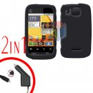 For Motorola Citrus WX445 Car Charger + Cover Hard Case Rubberized Black 2-in-1