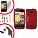 For Motorola Citrus WX445 Screen +Car Charger +Cover Hard Case Rubberized Red 3-in-1
