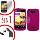 For Motorola Citrus WX445 Screen +Car Charger +Cover Hard Case Rubberized Rose Pink 3-in-1