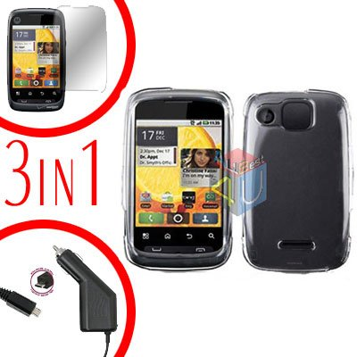 For Motorola Citrus WX445 Screen +Car Charger +Cover Hard Case Rubberized Clear 3-in-1