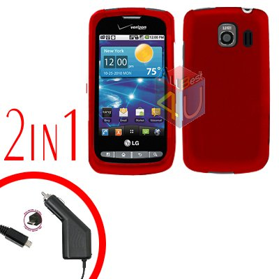 For LG Vortex VS660 Car Charger +Cover Hard Case Rubberized Red 2-in-1