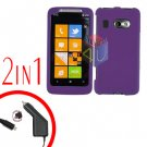 FOR HTC Surround T8788 Car Charger + Cover Hard Case Rubberized Purple 2-in-1