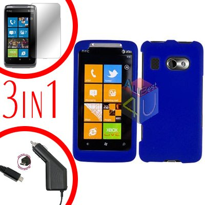 For HTC Surround T8788 Screen +Car Charger +Cover Hard Case Rubberized Blue 3-in-1