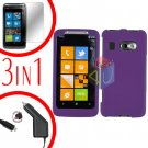For HTC Surround T8788 Screen +Car Charger +Cover Hard Case Rubberized Purple 3-in-1