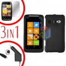 For HTC Surround T8788 Screen +Car Charger +Cover Hard Case Rubberized Black 3-in-1