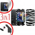 For Motorola Flipside MB508 Screen +Car Charger +Cover Hard Case Zebra 3-in-1