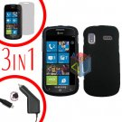 For Samsung Focus i917 Screen +Car Charger + Hard Case Rubberized Black 3-in-1