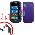 For Samsung Focus i917 Car Charger +Cover Hard Case Rubberized Purple 2-in-1