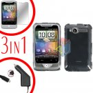 For HTC Wildfire 6225 Screen +Car Charger +Cover Hard Case Clear 3-in-1