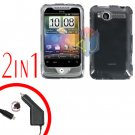 For HTC Wildfire Car Charger +Cover Hard Case Clear 2-in-1