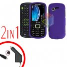 For Samsung Evergreen A667 Car Charger +Cover Hard Case Rubberized Purple 2-in-1