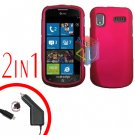 For Samsung Focus i917 Car Charger +Cover Hard Case Rubberized Rose Pink 2-in-1